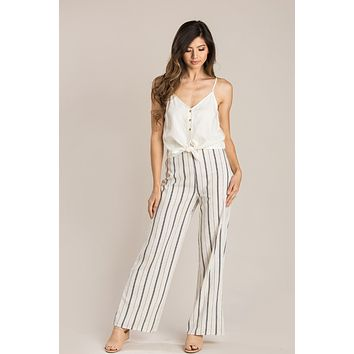 Mary Black Striped Wide Leg Pants