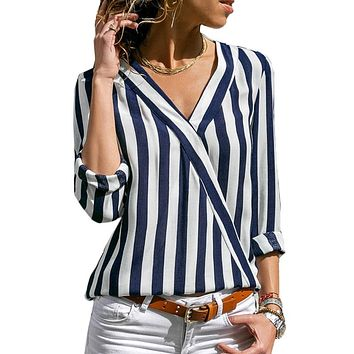 Striped V-neck Shirts Casual Long Sleeve Blouse