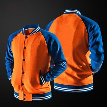 26e52e438d7 Solid Color Orange Men Jackets 2018 Autumn Casual Jacket Male Bomber Jacket  Men Coat Hipster Men s