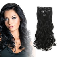 """20"""" Curly Full Head Kanekalon Futura Heat Resistance Hair Extensions Clip on in Hairpieces 7pcs"""