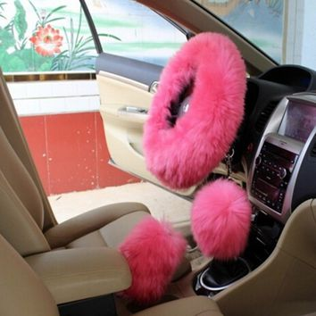 3PCs/Set Charm Pink Warm Long Wool Plush Steering Wheel Cover for Car Handbrake Accessory