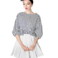 Striped Puff Sleeve Mini Skater Dress