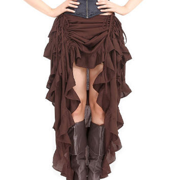 Ladies Steampunk Ruffle Full Length Burlesque Skirt. Victorian Bustle Skirt for Women Gather Dress