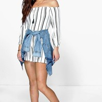 Zoe Striped Off The Shoulder Playsuit