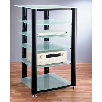 HGR Series 6 Shelf Audio Rack Multiple Finishes Glass Shelves