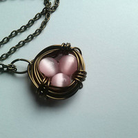 Bird's Nest Necklace | Hand Wrapped | Wire Wrapped Jewelry | Mexican Pink Opal | Bird Nest Jewelry | Copper Wire Necklace