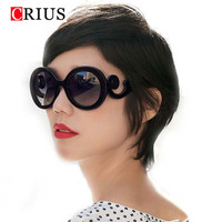D new Free shipping fashion sunglasses for women's Retro Round Waves Butteryfly Design Vintage Sun glasses Novelty UV400