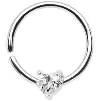 "18 Gauge 3/8"" Sterling Silver Clear CZ Heart Daith Tragus Earring 