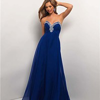 Sapphire Chiffon Rhinestone Strapless Sweetheart Prom Dress - Unique Vintage - Cocktail, Pinup, Holiday & Prom Dresses.