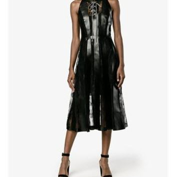 CHRISTOPHER KANE | Sleeveless Lace & Faux Leather Dress | Womenswear | Browns Fashion