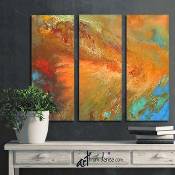 Large abstract 3 piece wall art canvas set, Orange red & blue fall wall decor above bed, art pictures for living room, dining or bedroom