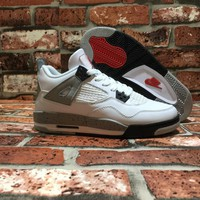 [Free Shipping ]Air Jordan4 OG White Cement Basketball Sneaker