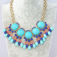 Turquoise Blue  Circular Bubble Statement Necklace,Drop Bib Statement Necklace,Personalized Party  Bridesmaids Jewelries, SN1340
