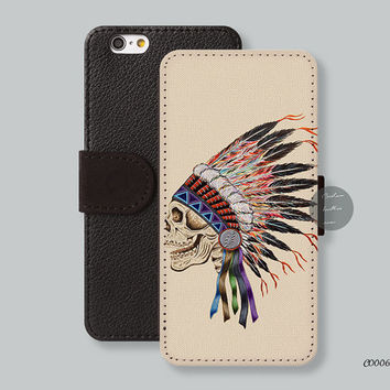 skeleton Indian headdress Leather Wallet iPhone 6 case iPhone 6 plus case, Wallet cover iPhone 5s case iPhone 5c case Galaxy s3 s4 s5 C00063