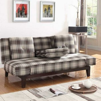 Grey and brown plaid woven fabric upholstered folding sofa bed with tufted back