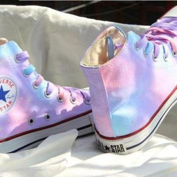CREYUG7 multicolor painted shoes converse - Gradient sky hand-painted shoes Girls