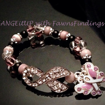 Fibromyalgia/Invisible Diseases Rhinestone Awareness Bracelet / Anklet - Beads and Accents Purple Enamel Butterfly, Awareness Ribbon