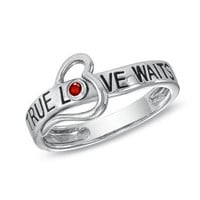 July Ruby True Love Waits Heart Ring in Sterling by NaomisCo2