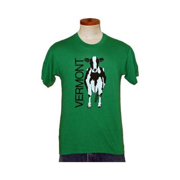 Vintage Amazing 1985 VERMONT COW GRAPHIC Men Women Green Soft Thin Funny Small 50/50 T-Shirt