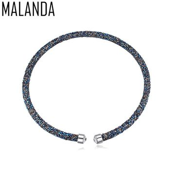 MALANDA Brand 2017 New Fashion Chokers Necklaces For Women Crystal From Swarovski Statement Necklace Wedding Party Jewelry Gift