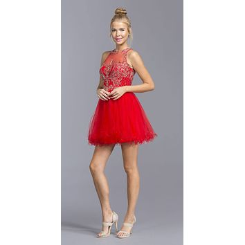 Red Sleeveless Homecoming Short Dress Cut-Out Lace Up Back