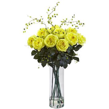 Silk Flowers -Giant Fancy Rose And Willow Arrangement Artificial Plant