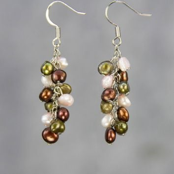 Pastel dustry pink green brown Colorful pearl dangling chandelier earrings Bridesmaid gifts Free US Shipping handmade Anni designs