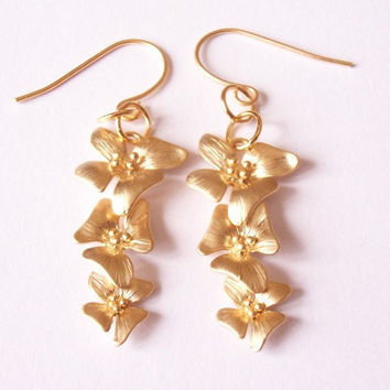 orchid earrings, dangling earrings, flower earrings, gold plated earrings by SABOTAGEandCO