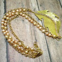 Topaz Gold Leaf, Apricot Pearls, Gold Chain OOAK Adjustable Necklace