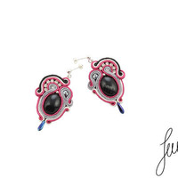 Hand embroidered, soutache earrings with onyx,, crystal Swarovski, zircos