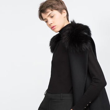LONG WAISTCOAT WITH FAUX FUR COLLAR