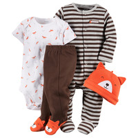 Carter's® 4-pc. Orange & Brown Fox Print Set – Baby 3-9 Mos. | Stage Stores