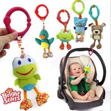 American Quality Baby Toys Colorful Cute animal pendant for Stroller and Crib Black dog Green frog owl dolls