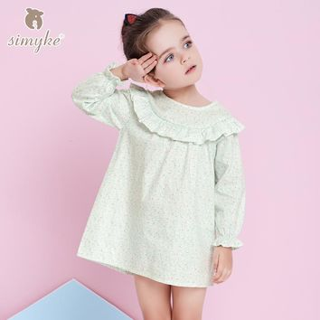 Simyke Dresses For Girls With Long Sleeve Spring 2018 Brand Girl Flower Printing Dress Kids Clothing Children Clothes W8329