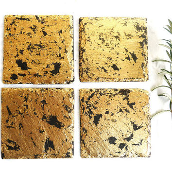 Slate & 24k gold coasters, placemats, handmade UK, contemporary distressed effect, luxury, natural slate, Golden wedding anniversary gift,