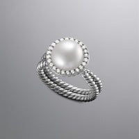 David Yurman | Diamond, Gold & Sterling Silver Rings | Women's Jewelry | David Yurman | Pave Diamond Cable Pearl Ring