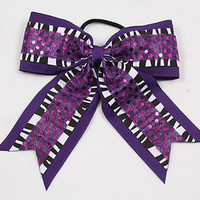 "6x5"" Cheerleading Hair Bows - With Zebra and Sequins - Great for Cheer!"