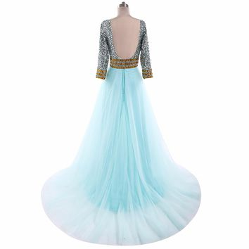 Mint Green A Line Tulle Prom Dresses Front Slit Formal Women Party Prom Dresses