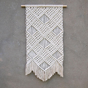 Macrame wall hanging Off-white wall decor Home accents Birthday gift for grandma bohemian home decor Bedroom wall decor Woven wall hanging
