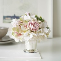 White Hydrangea Pink Rose Floral Arrangement in Silver Metal Vase