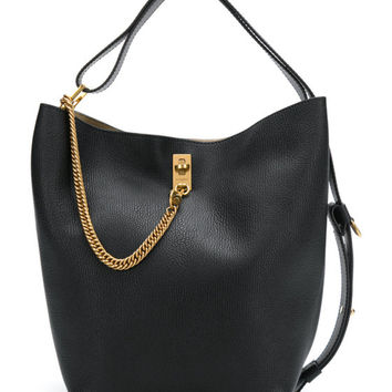 Givenchy Medium GV Bucket Bag - Black Gold Tone Chain Trim Bag