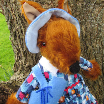 Toy Lady Fox Chestnut Plush Stuffie Dressed in Blue and Pink  Matching Accessories