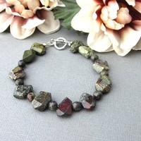 Bloodstone Jasper Gem Chunky Bracelet Olive Green and Red Medium Large