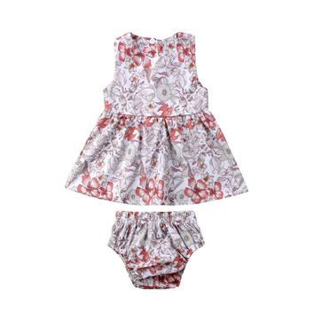 Newborn Baby Girls Floral Retrao Blouse Tops Briefs Shorts Summer 2018 Little Girl Outfit Clothes