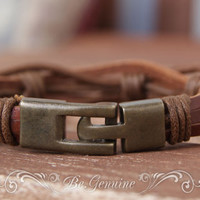 "Men Leather bracelet - For dad - Rustic-Brown - Fathers Day bracelet - Gift for Him -""Raw Leather"" multi strand - unisex"