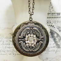 Large Silver Locket, Antique Silver Locket, Silver Locket