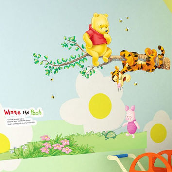 winnie the pooh bear wall sticker child role of children's Diy adhesive art mural poster picture removable wallpaper baby room SM6
