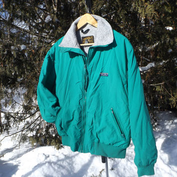 Rad Teal Eddie Bauer Winter Jacket Fleece Lined Grey Winter Coat 90s Jacket Vintage Winter Ski Size Medium
