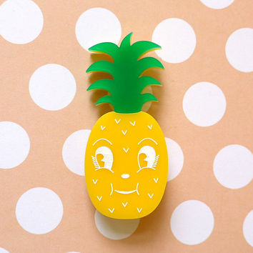 Nina Colada Pineapple Brooch - laser cut acrylic - Kitsch Vintage 50s Anthropomorphic Novelty Statement Pin Fruit Retro Cute Fun Food Kawaii