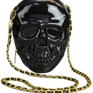 Loungefly Black 3-D Molded Skull Crossbody Bag With Chain